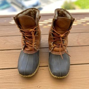 LL Bean Boots, Tumbled-Leather Shearling-Lined 9W
